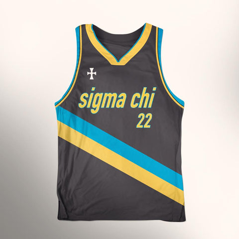 ALMIGHTY Customize Your Org Blue/Gold Striped Basketball Jersey - Almighty Jerseys Jersey Customs Greek Life