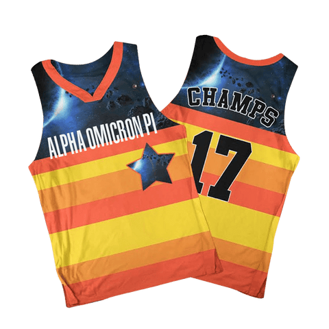 8656aa55e09 Alpha Omicron Pi Houston Astros Basketball Jersey - Almighty Jerseys Jersey  Customs Greek Life