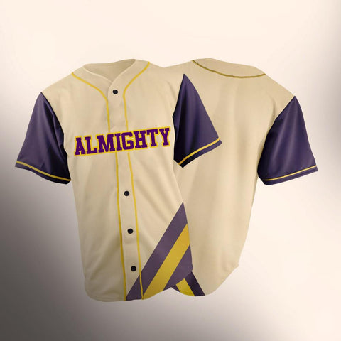 ALMIGHTY Customize Your Org purple and gold Striped Baseball Jersey - Almighty Jerseys Jersey Customs Greek Life