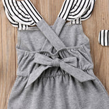 Striped Backless Romper