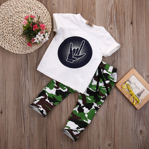 Love printed T Shirt  + Camouflage Pants 2PCS Boys