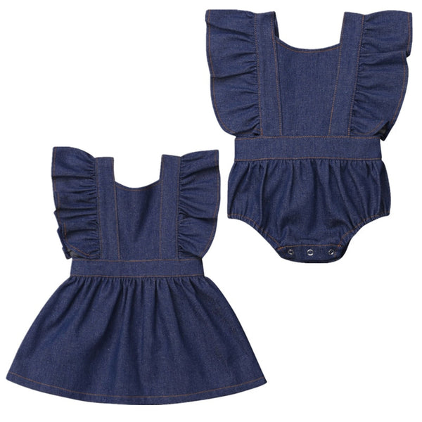 Matching Sister's  Baby girl Dress and Romper