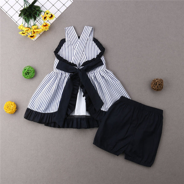 Little Girls Darling Strip dress and shorts set