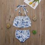 Toddler Halter Ruffle Tops and Shorts Swimsuit set