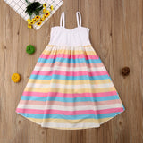 Girls Rainbow Striped Maxi Dress