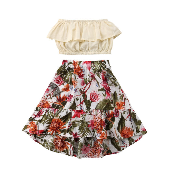 Girls Crop Short Top + Floral Skirt Outfit 2PCS Sets