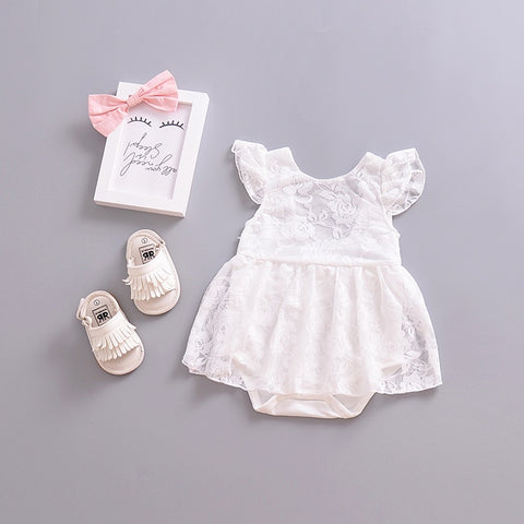 Baby Lace Christening Romper - Debbie's Kids Boutique