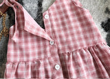 Girl's Suspender Sweet Plaid Dress