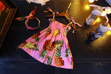 Girls Suspender Print Pineapple Dress