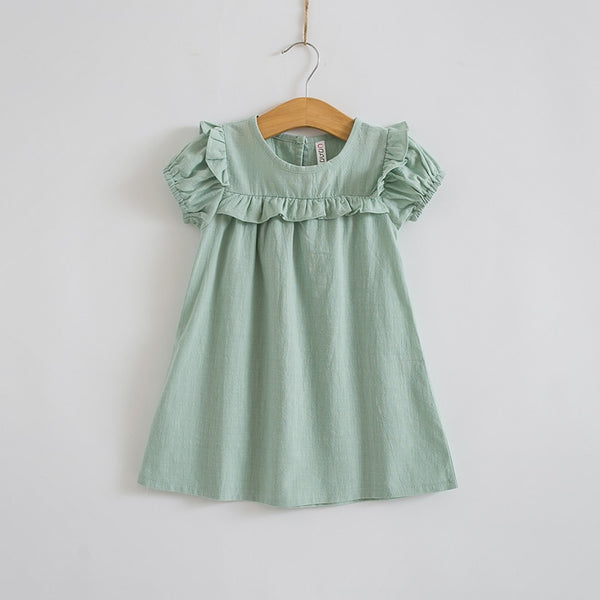 Little Girls Puff Sleeve Linen Ruffles Dress