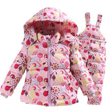 Girls Fashion Down Coat Snowsuit Jackets+bib Pants
