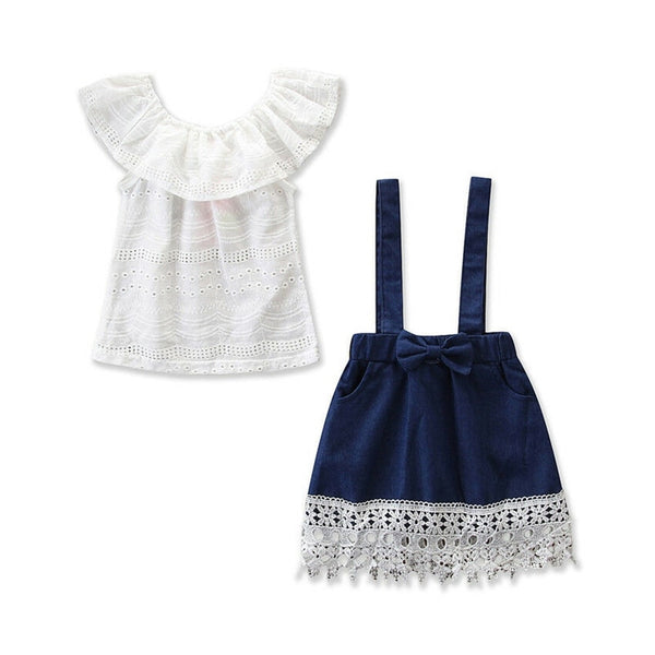 Baby Girl Ruffle Denim Skirt and Top set