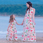 Boho Mom Daughter Floral Beach Maxi Long Dress