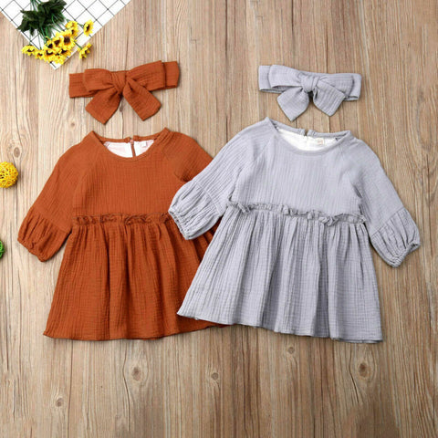 Long Puff Sleeve Plain Linen Dress and Headband