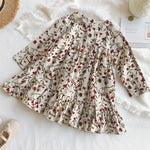 Beautiful Girl's Flower Thin Corduroy Dress
