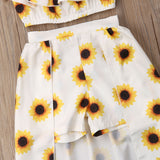 Sunflower Off shoulder Crop Tops Skirted Shorts Headband 3PCS  Set