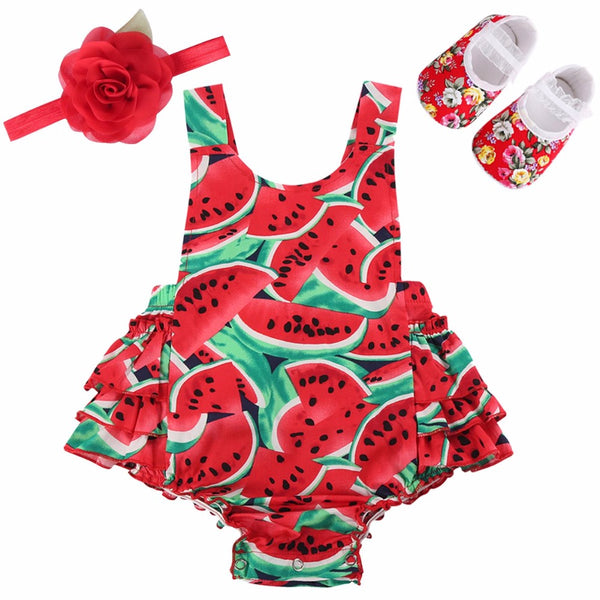 Adorable Watermellon 3 pcs Romper Set