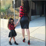 Girls Red Plaid Long Sleeve Tops Shirt Leather PU Skirt