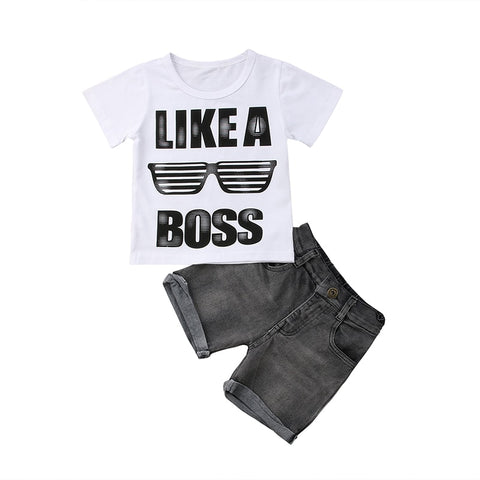 Like a boss T-shirt +Denim Shorts Boys Outfit