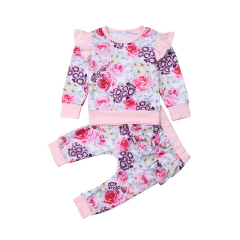 Miss Rose Floral Top and Pants Set