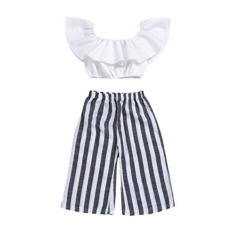 Girls 2 pcs Stripe T-shirt Set