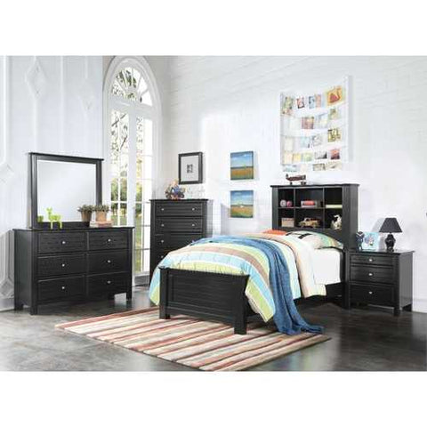 Pine Wood Twin Bed With Bookcase, Black