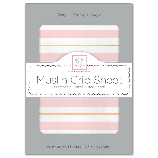 Stripes Muslin Fitted Crib Sheet - Debbie's Kids Boutique
