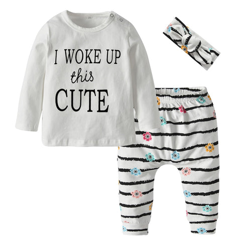 Cute Printed Top+Stripe Pants + Headband Set
