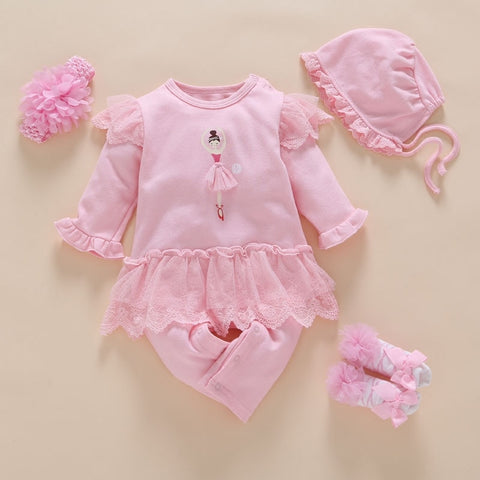 Little Ballerina 4Pcs/Set New Born Baby girl set