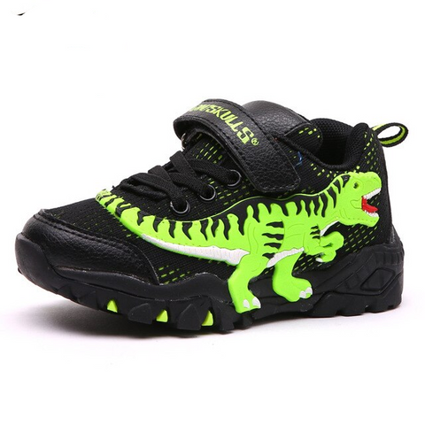 Boys Glowing Breathable LED Light T- Rex Dinosaur sneakers
