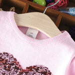 Sequins heart long sleeve Kids Sweater
