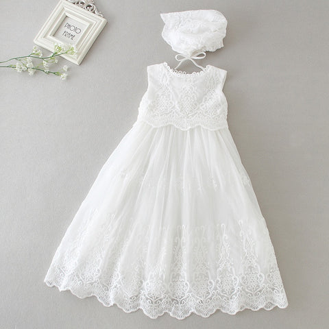 Infant Girl White Baptism Long gown and Bonnet Hat