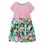 Girls Striped Floral Dresses