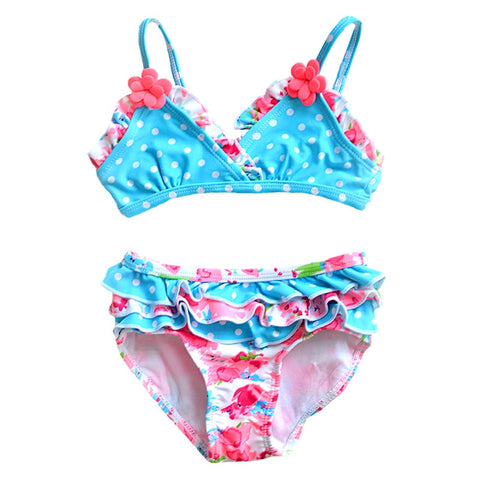 Girls Floral Two Pieces SwimSuit