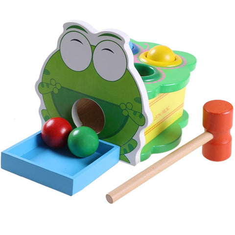 Baby Montessori Wooden Frog whack a Ball set - Debbie's Kids Boutique