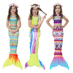 Girls Mermaid Tail Bikini Swimsuit 3 pcs set