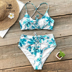 White Floral Print High waist Lace-Up Swimsuit Sets