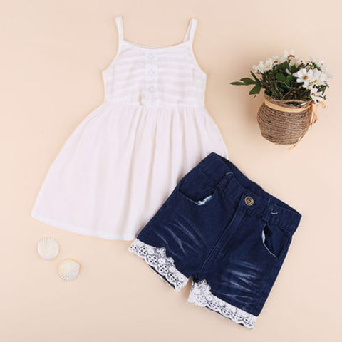 Girls 2Pcs  Vest+Flower Lace Denim Shorts
