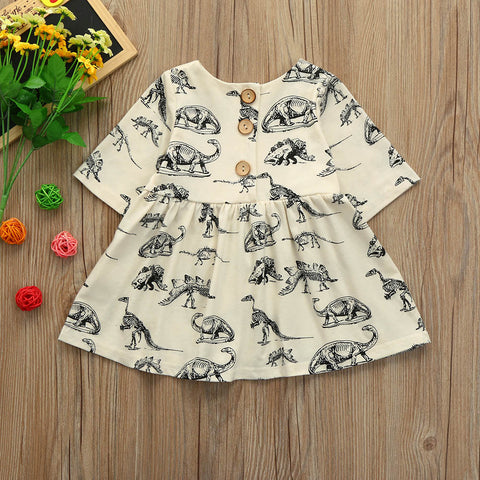 Girls Dinosaur Print Sun Dresses
