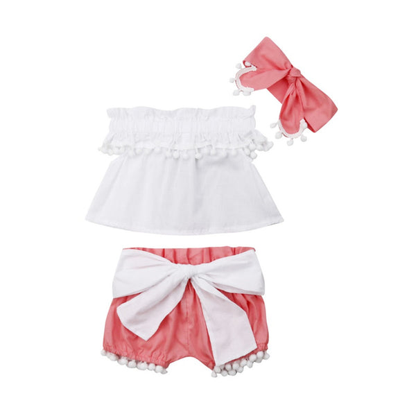 Baby Girl Tassels Sleeveless Tank Tops+Big Bowknot Shorts+Headband set