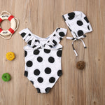 Girls Polka Dot Bikini Swimsuit and Hat