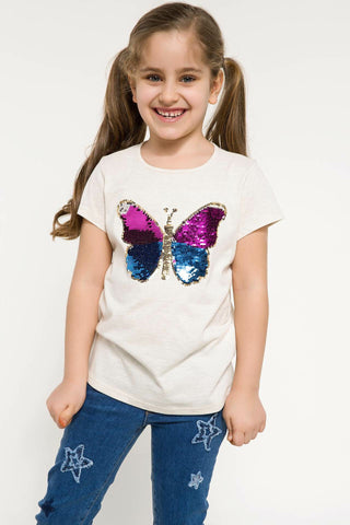 Lovely Glitter Butterfly Sleeved Tee