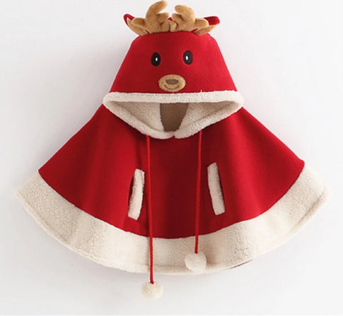 Toddler Girls Deer Hooded Christmas Cloak