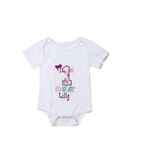 Personalized Name 1st Easter Romper.