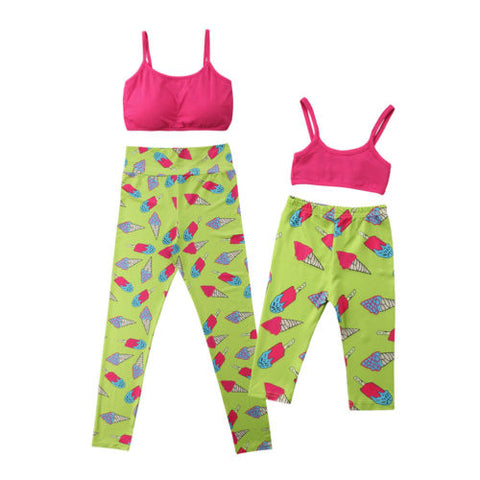 Mommy and me matching yoga Sports Top and Leggings set