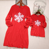 Mother and Daughter matching Snowflake Holiday Dress