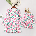 Mother and Daughter Floral Printed Dress