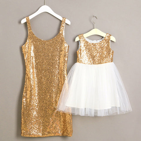 Mommy and Me matching Gold Holiday Dress