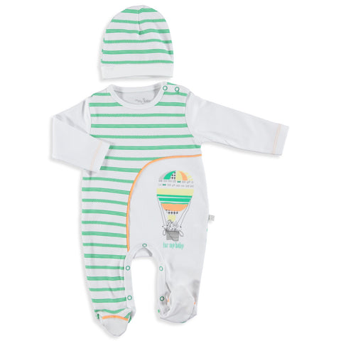 Baby Marco Footed Romper and Hat Set