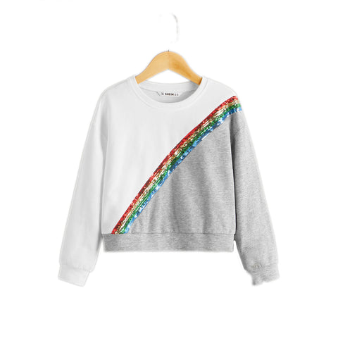 Girls Contrast Sequin Two Tone Sweatshirt